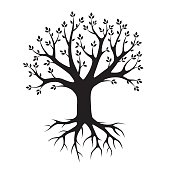Black vector Tree and Roots. Vector Illustration. Park and Nature.