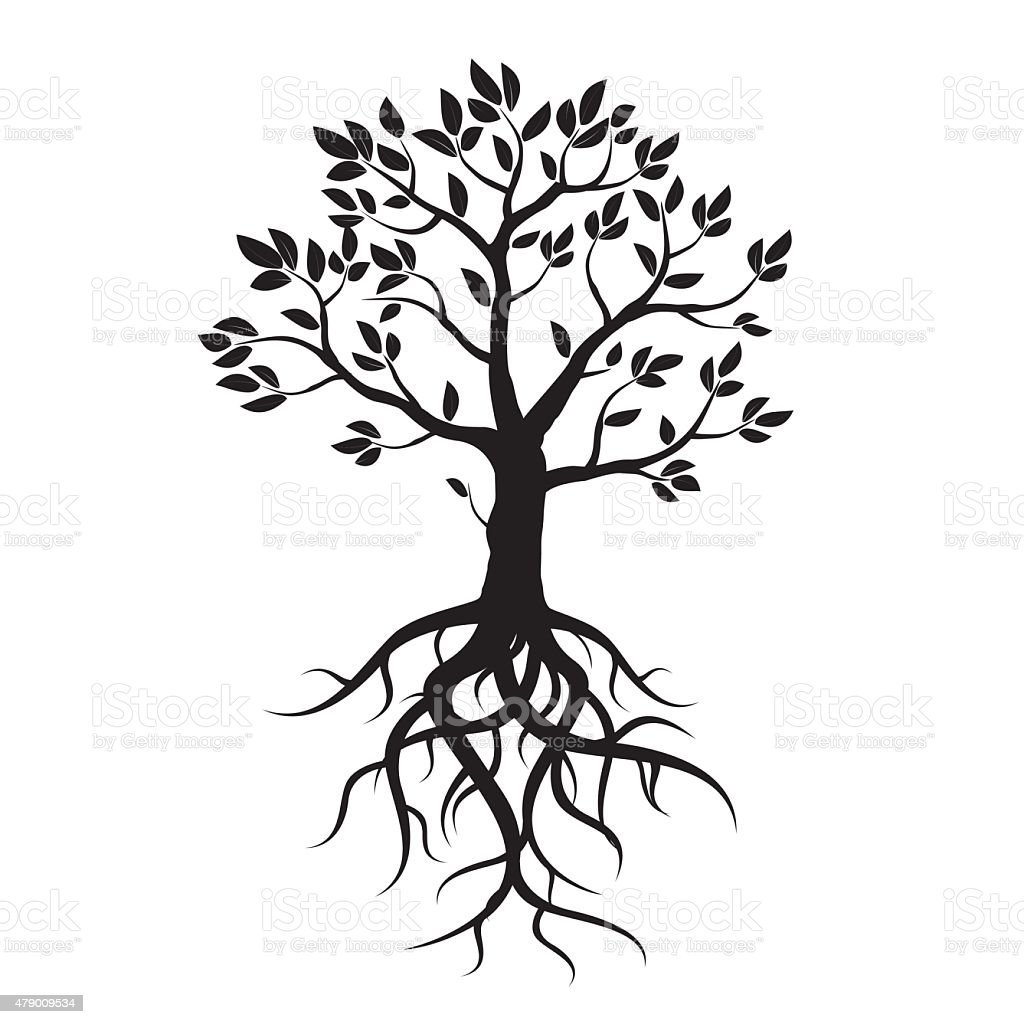 Black vector tree, leafs and roots. vector art illustration