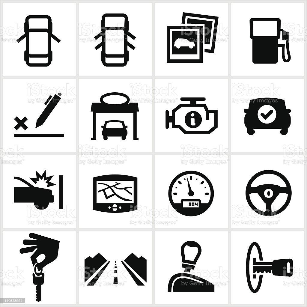 Black Vehicle Icons vector art illustration