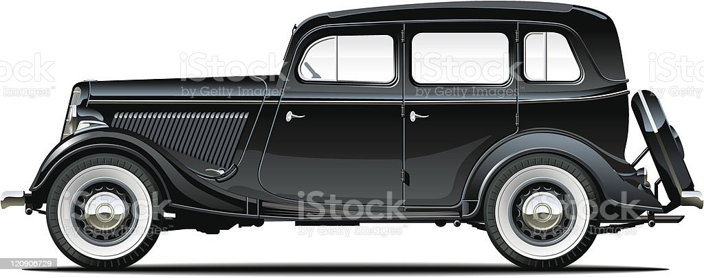 Black vintage car on white background vector art illustration