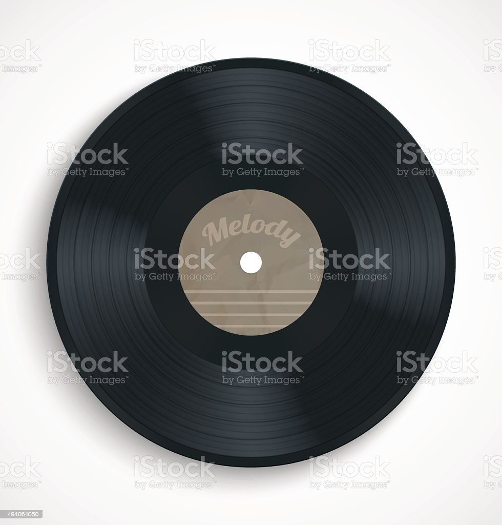 Black vinyl record album disc with blank brown label vector art illustration