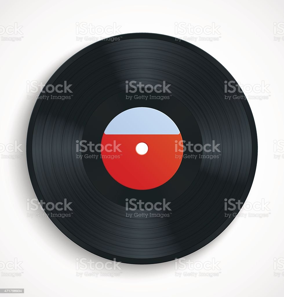 Black vinyl record disc with blank label in red vector art illustration