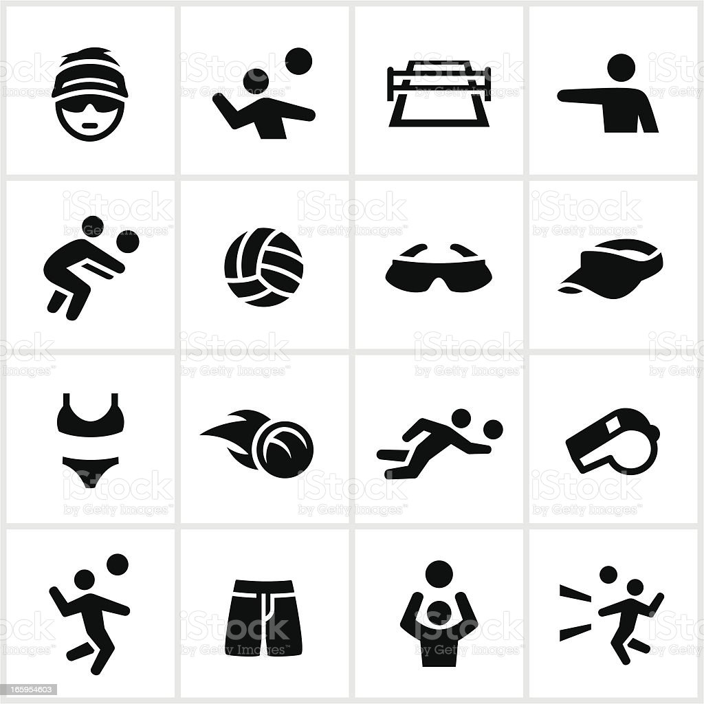 Black Volleyball Icons vector art illustration
