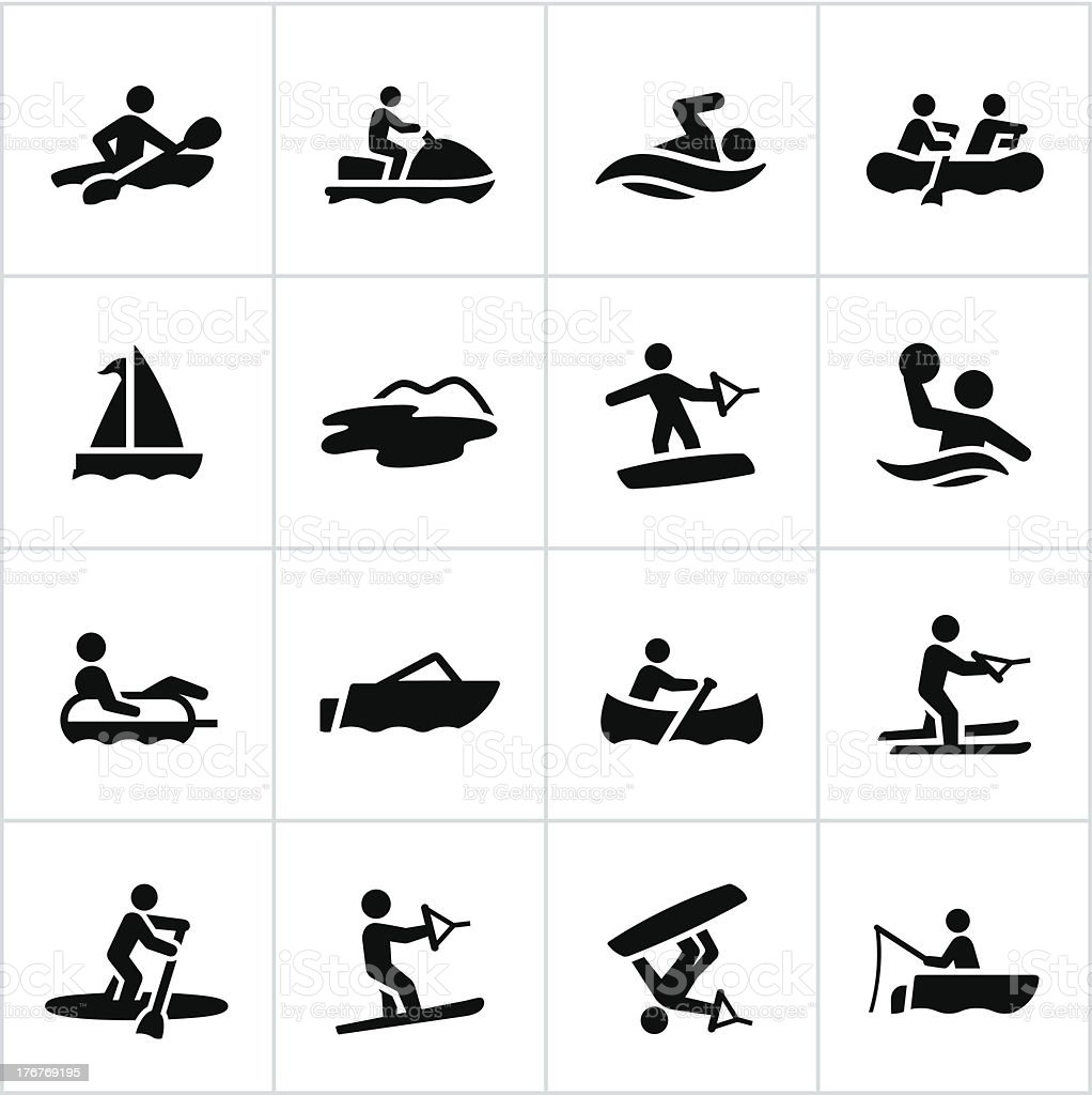 Black Water Recreation Icons vector art illustration