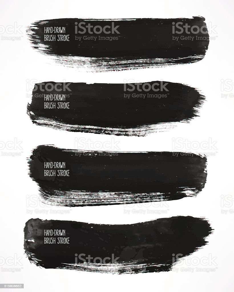 black watercolor brush strokes vector art illustration