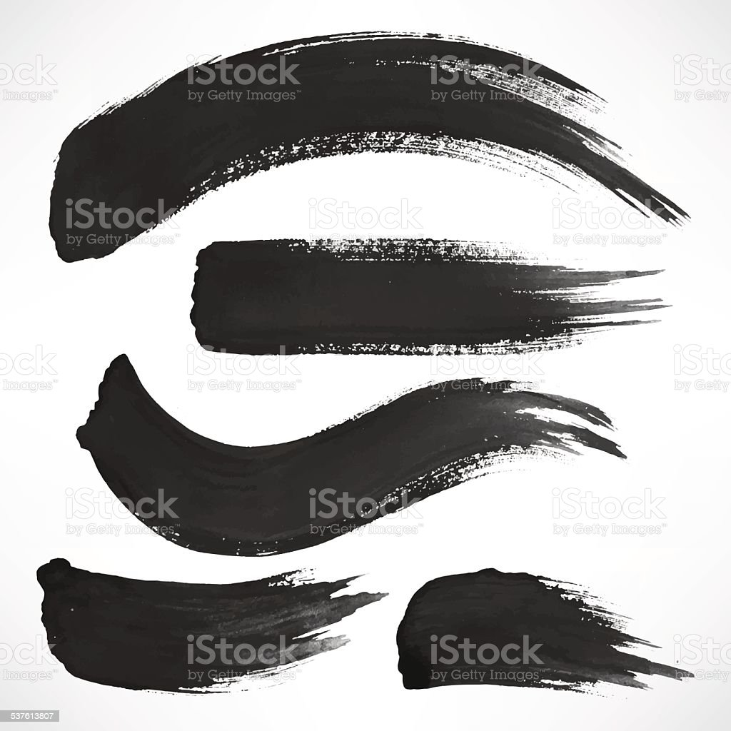 black watercolor brush strokes vector art illustration