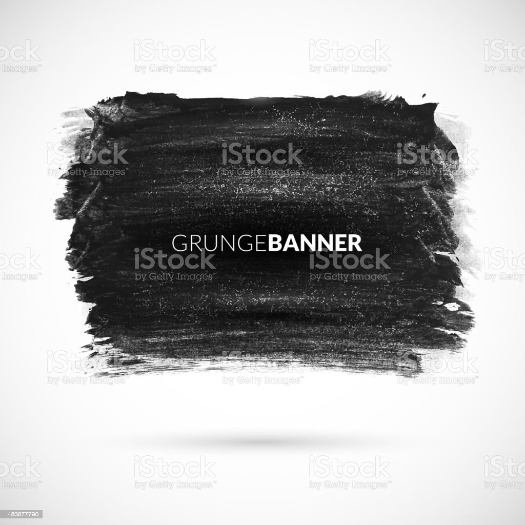 Black watercolor ink banner with grunge texture retro effect vector art illustration