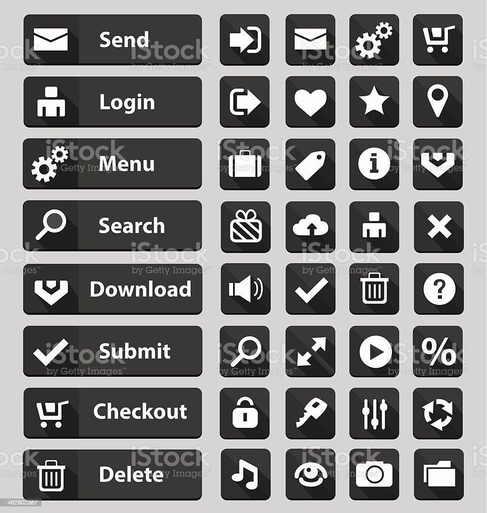 Черный Веб-дизайн набор кнопок векторная иллюстрация