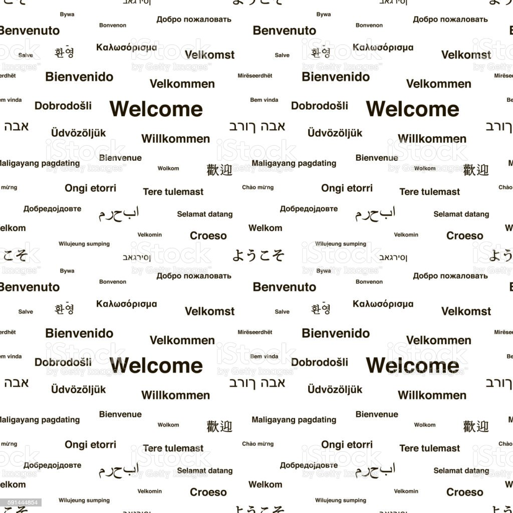Black welcome phrases in different languages on white, seamless pattern vector art illustration