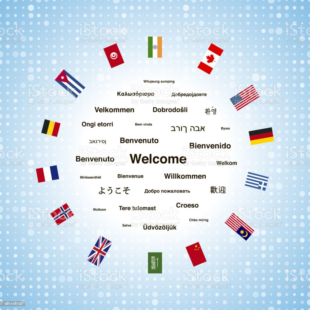 Black welcome phrases in different languages vector art illustration
