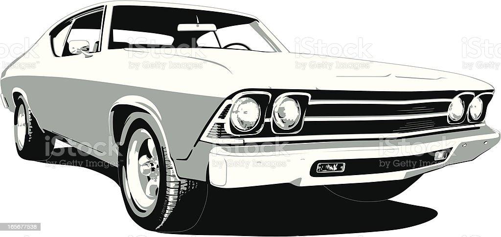 Black & White 1969 Chevelle SS vector art illustration