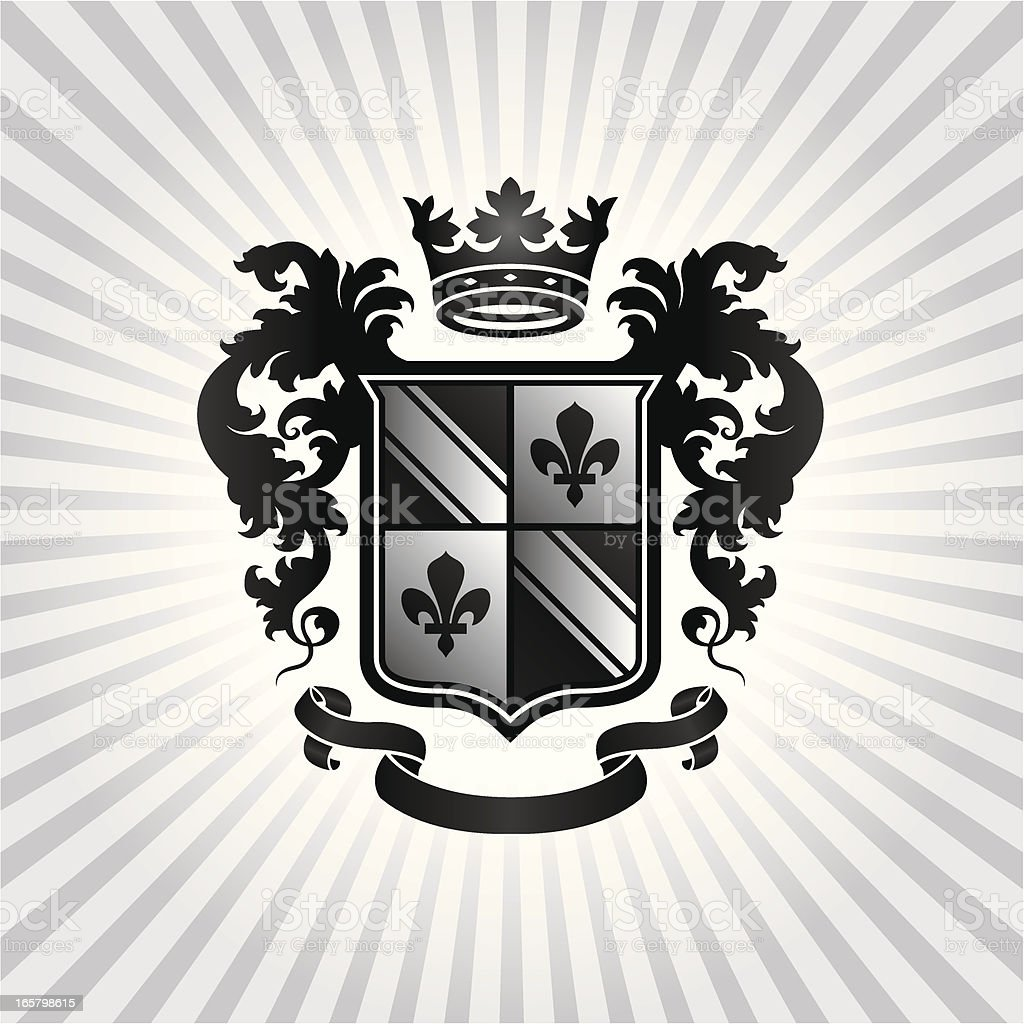 Black, white and gray Heraldic Crest vector art illustration
