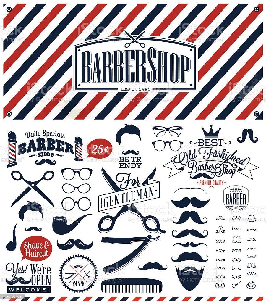 Black, white and red barber sign with retro barber symbols vector art illustration