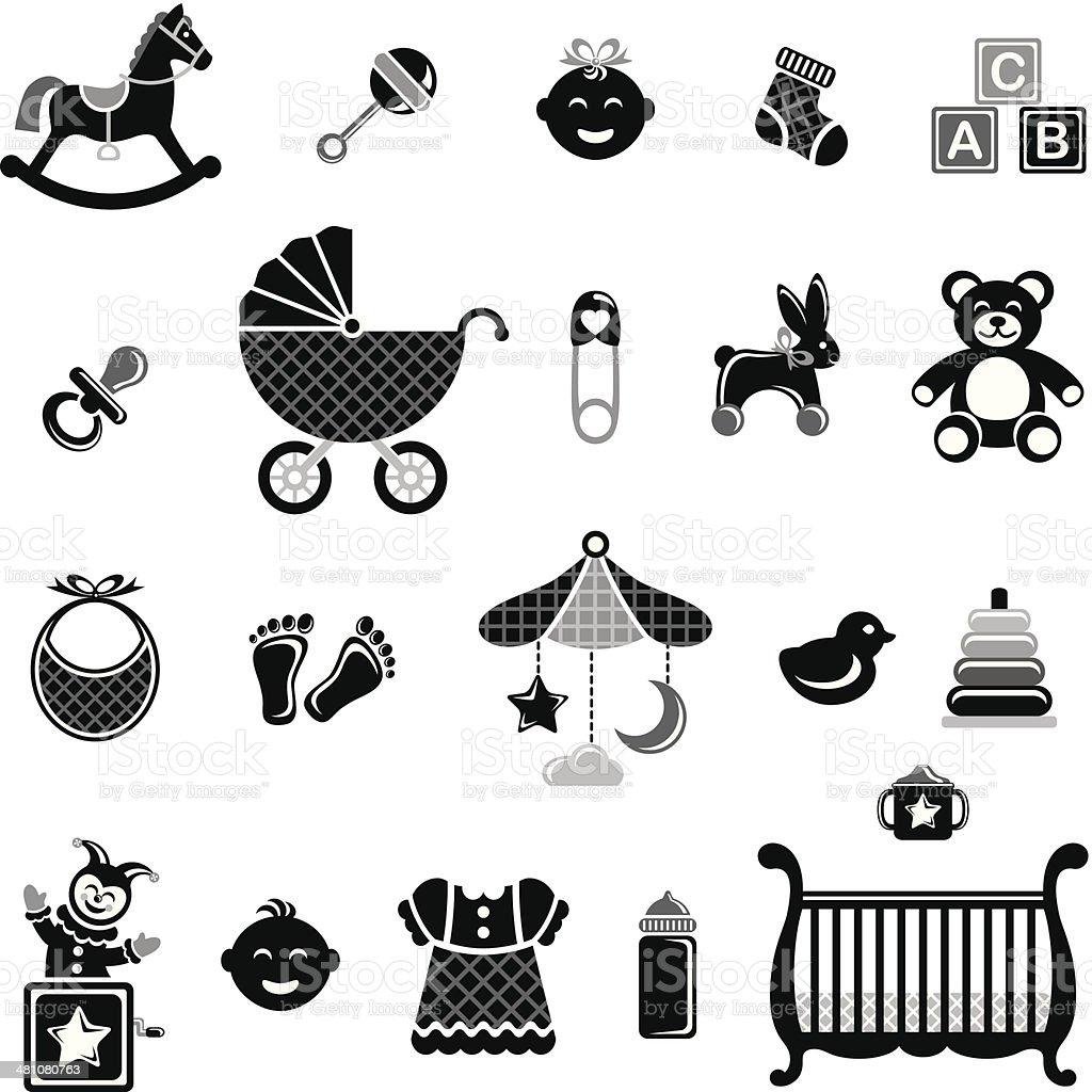 Black & White Baby Icon Set vector art illustration