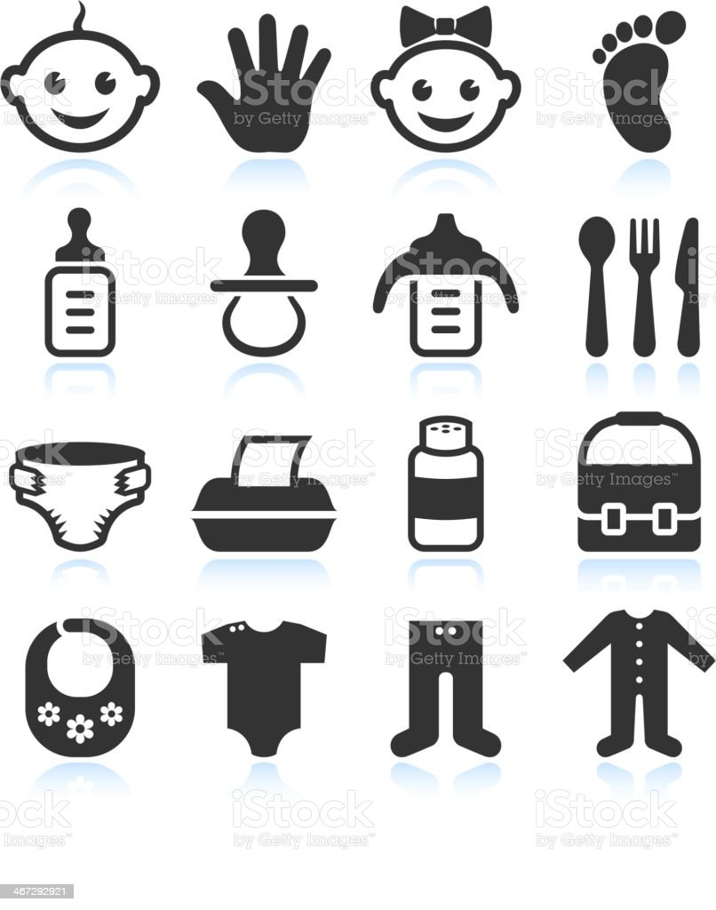Black & White Baby royalty free vector icon sets vector art illustration