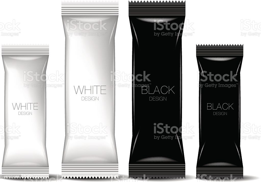 Black & White Blank Foil Packaging vector art illustration