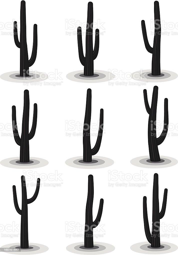 6 black & white cactus images against a white background vector art illustration