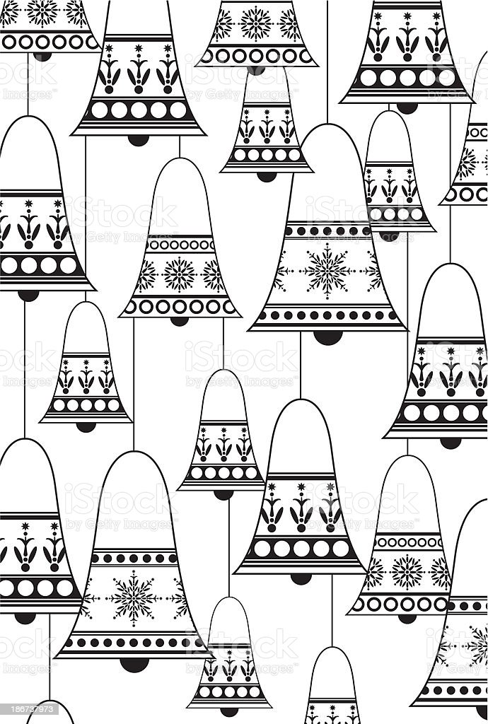Black & White Christmas Bells in a Pattern royalty-free stock vector art