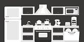 Black white color kitchen interior.