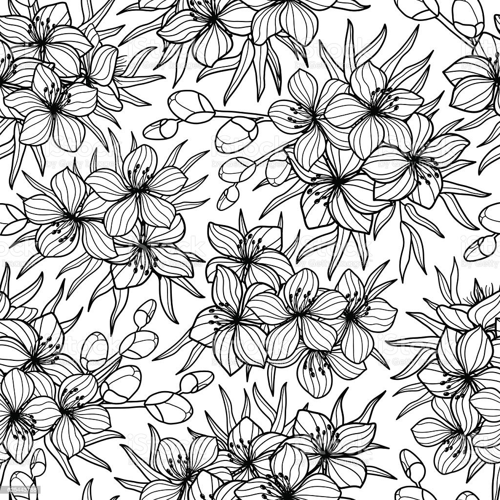 Black Flower And Bud Pattern Royalty Free Stock Photos: Black White Flower And Leaves Sketch Style Seamless Vector