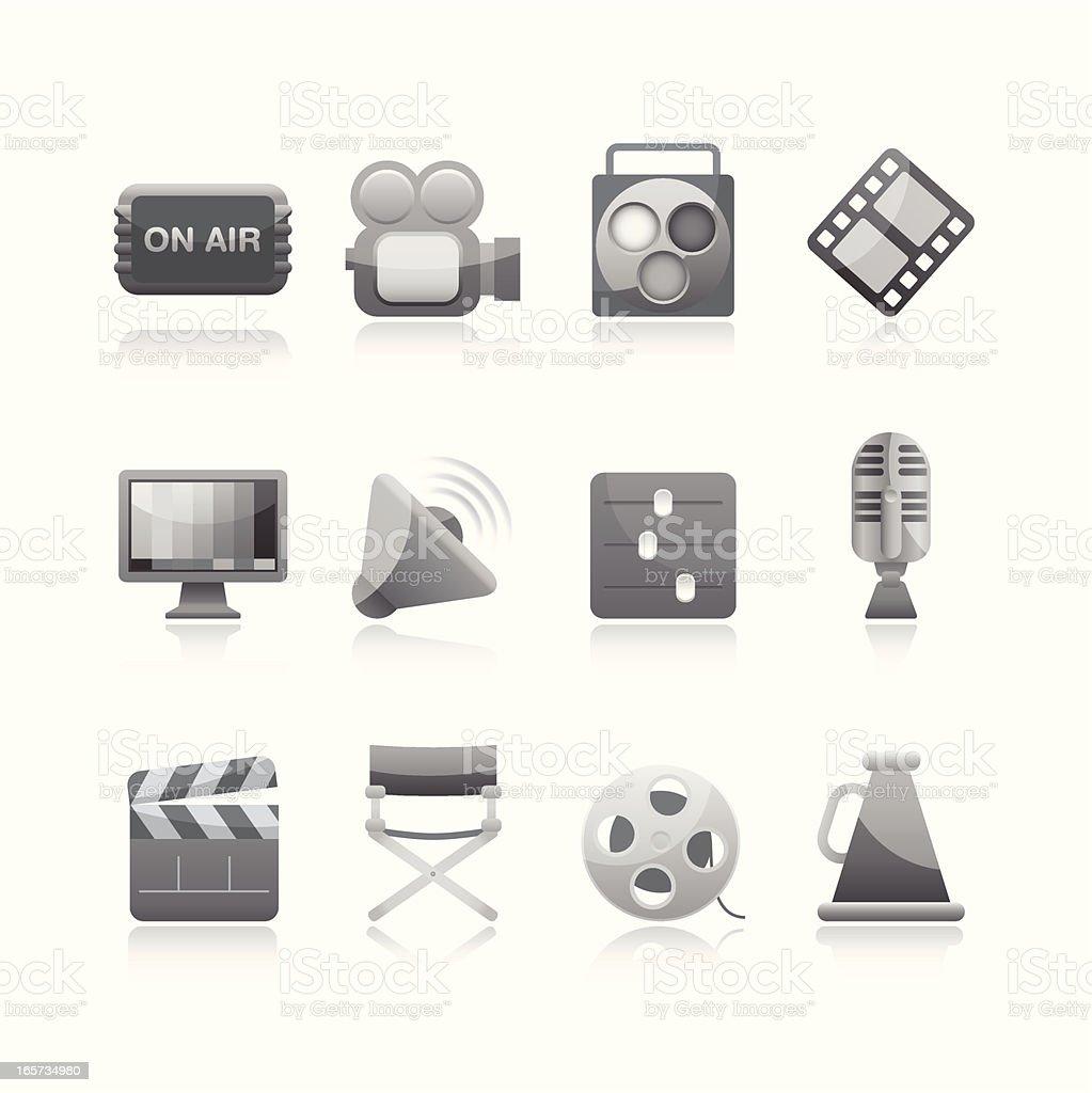 Black & White Icon - Filming vector art illustration