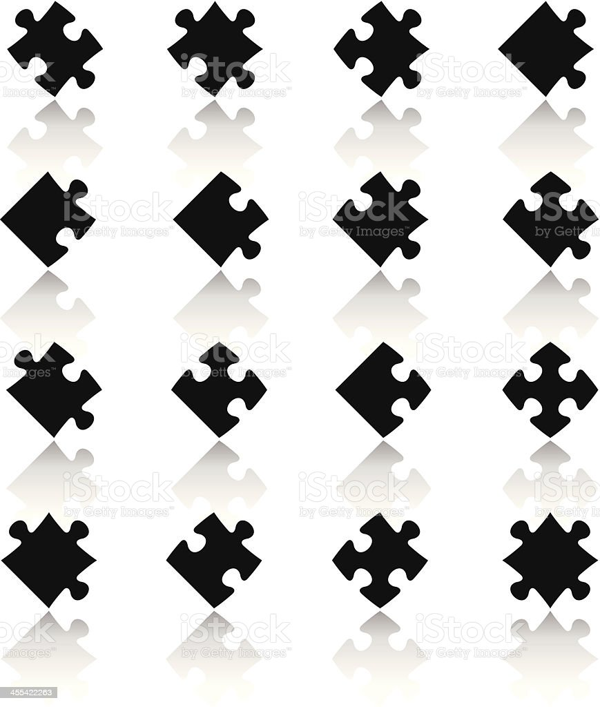 Black & White Icons Set   Puzzle Pieces vector art illustration
