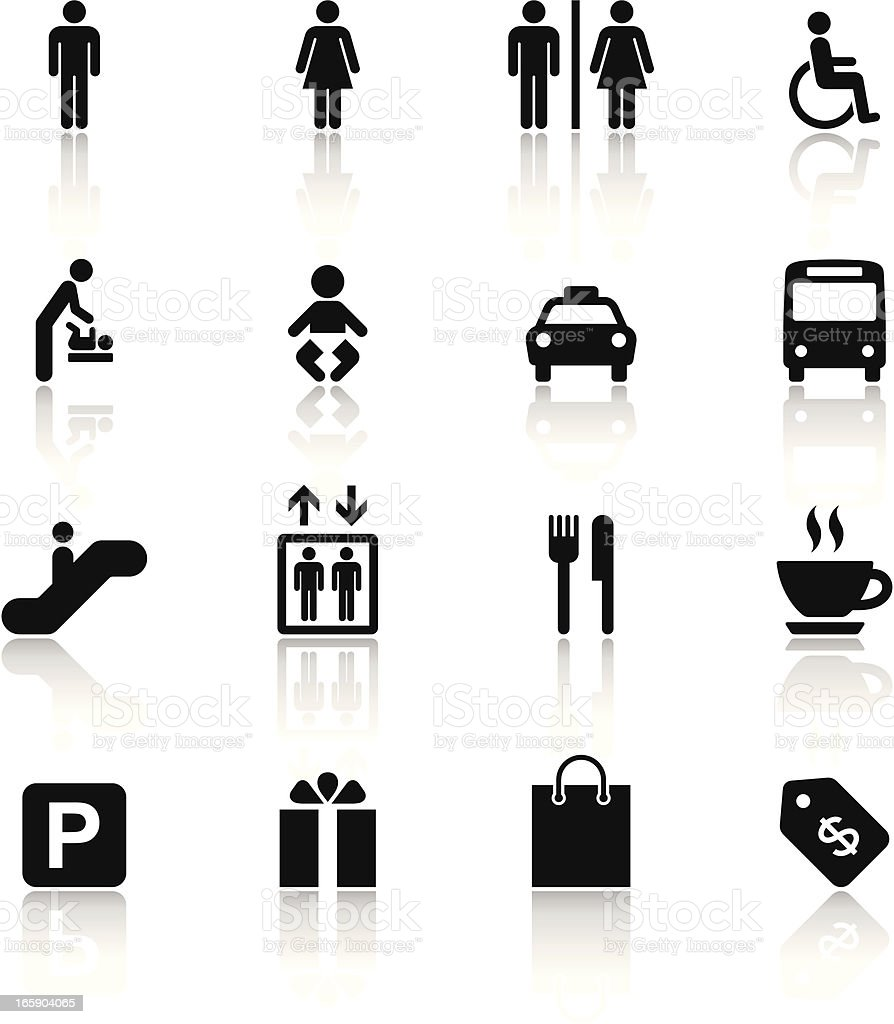Black & White Icons Set | Shopping Mall vector art illustration