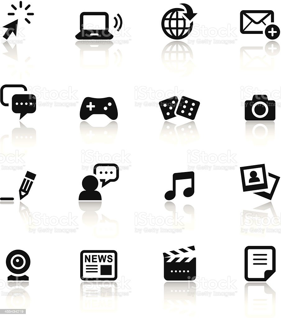 Black & White Icons Set | Social Media vector art illustration