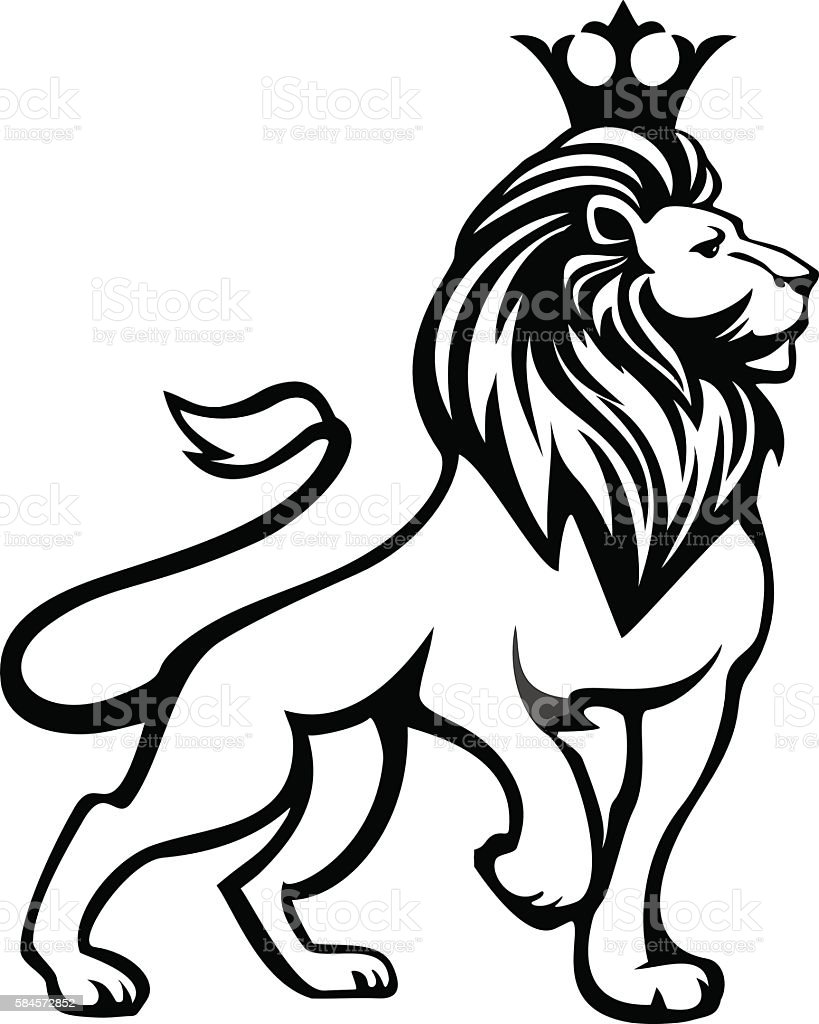 Black white lion in full growth with a crown vector art illustration