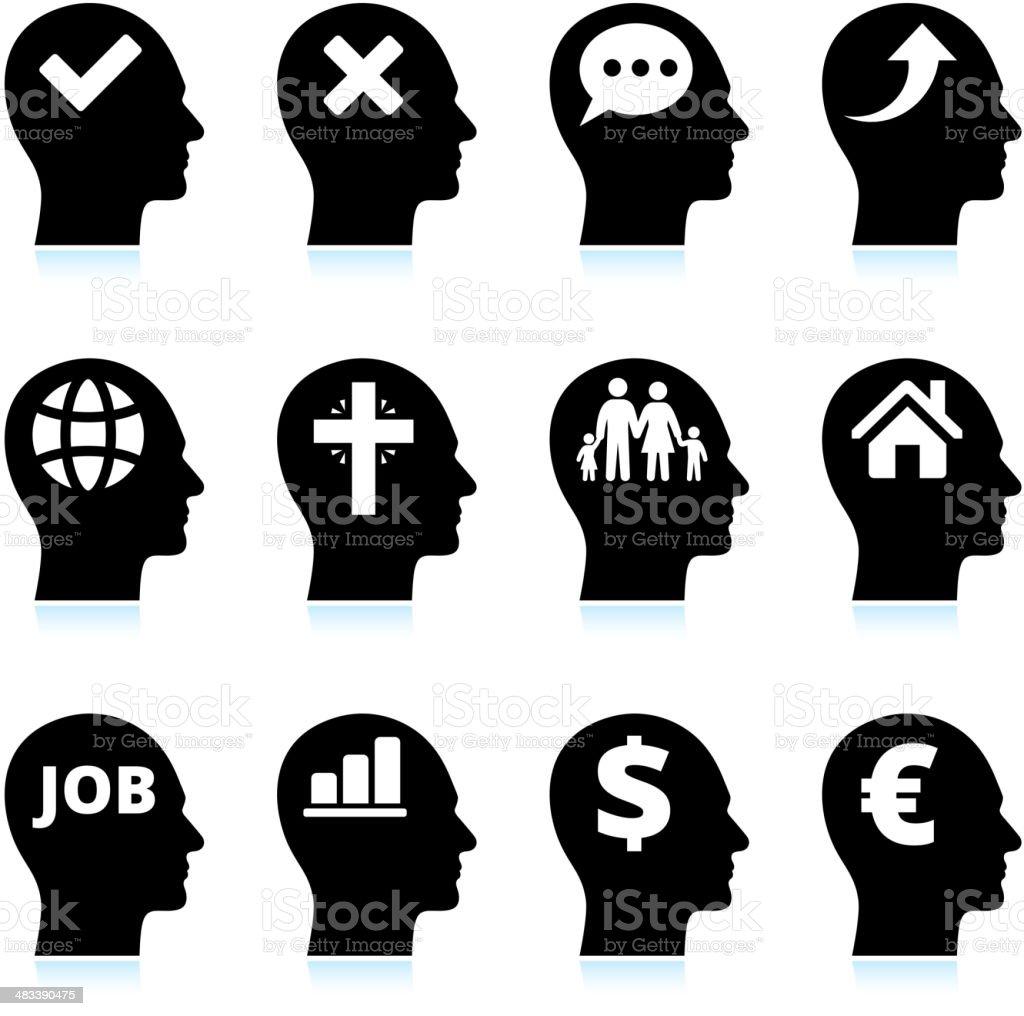 Black & White Mind and Ideas Icons Set vector art illustration