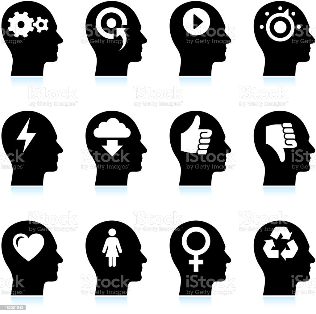 Black & White Mind and Ideas royalty-free vector icon set vector art illustration