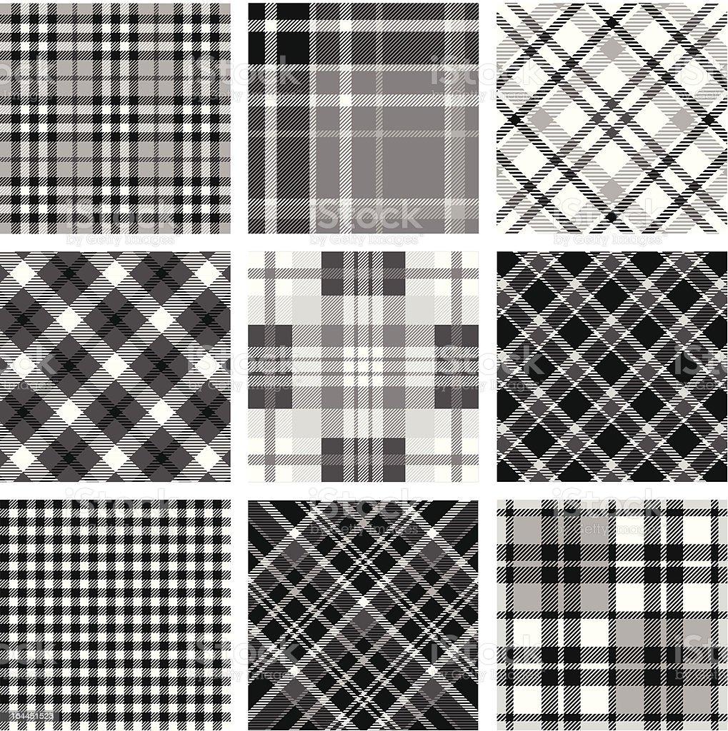 Black & white plaid set royalty-free stock vector art