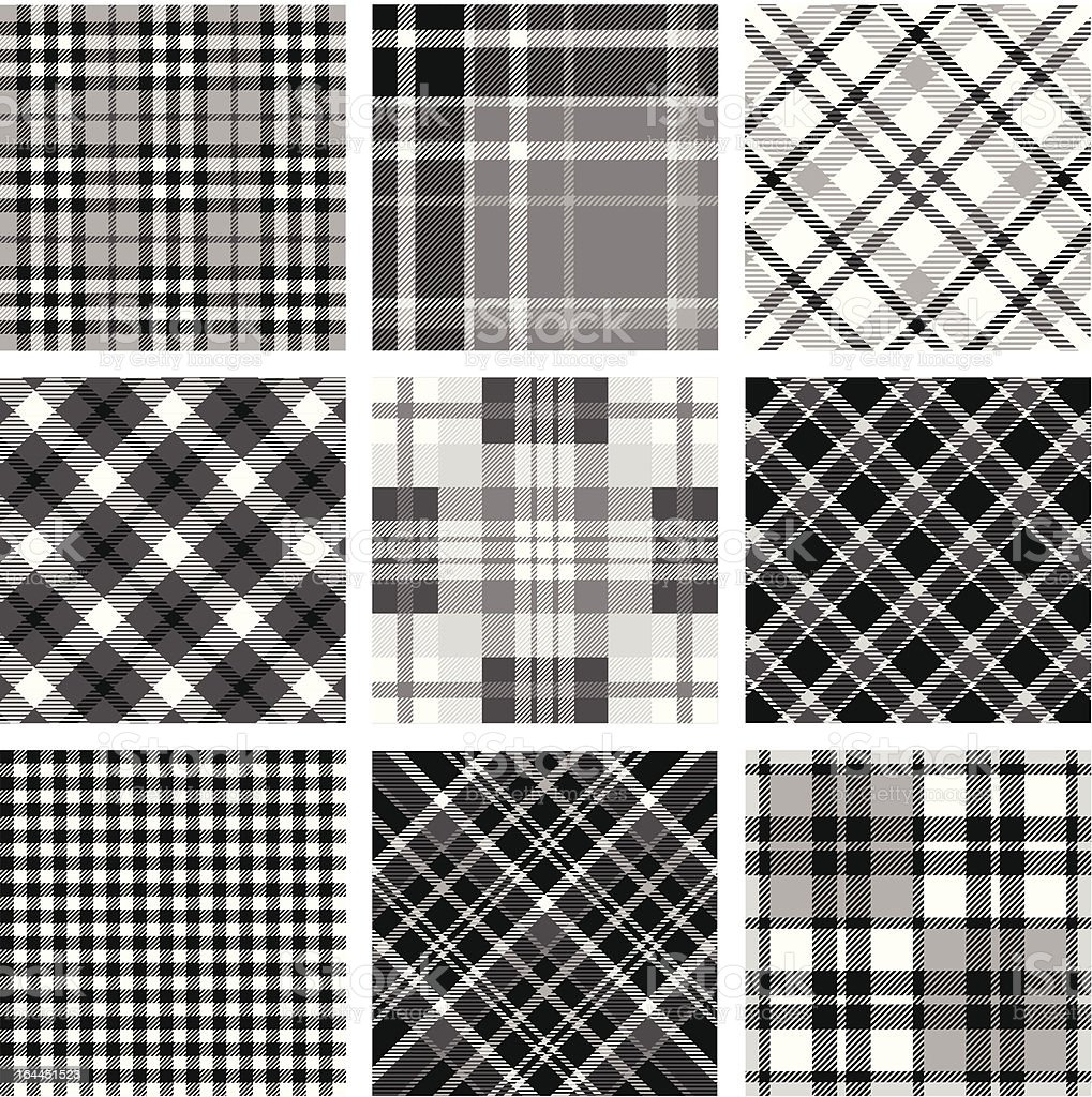 Black & white plaid set vector art illustration