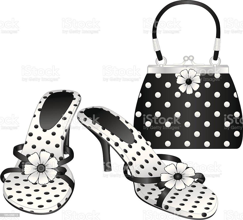 black white polka dot shoes purse stock vector