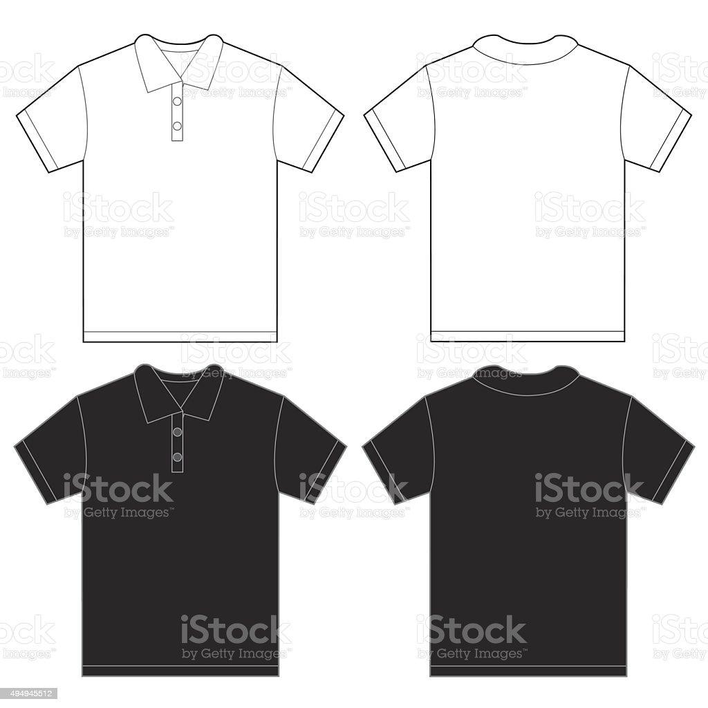 Shirt design template size - Black White Polo Shirt Design Template For Men Royalty Free Stock Vector Art