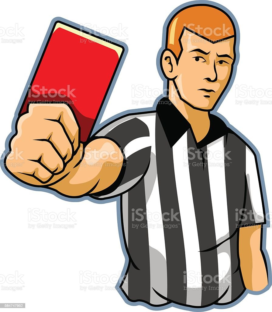 Black White Referee vector art illustration