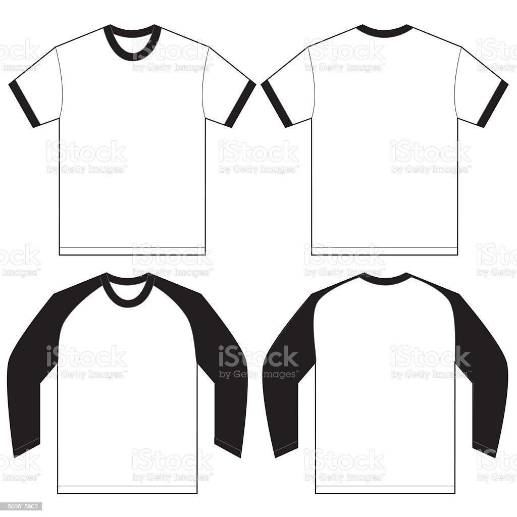 Tshirt design - Black White Ringer T Shirt Design Template Royalty Free Stock Vector Art