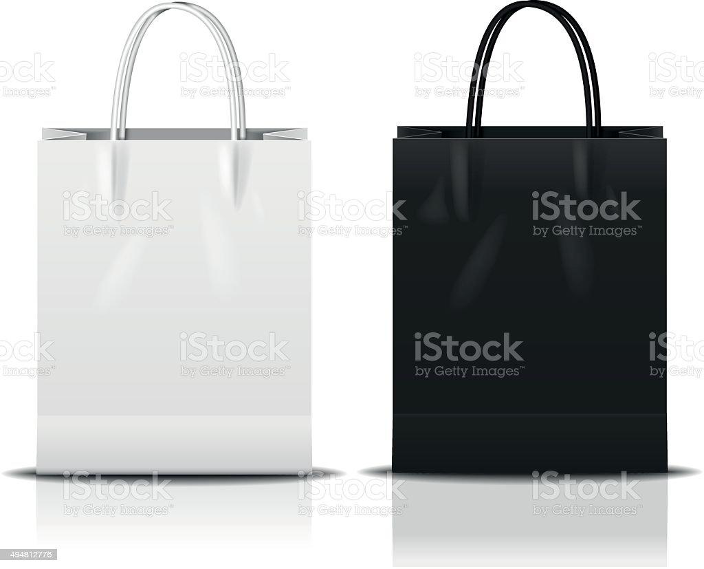 black & white shopping bag vector art illustration