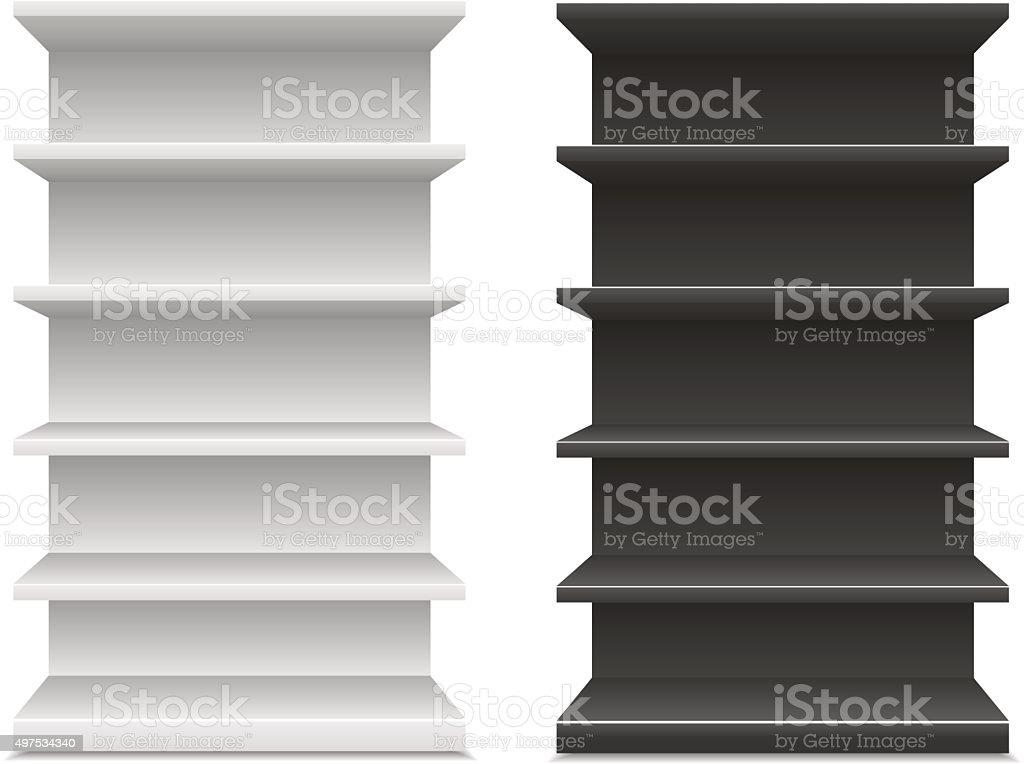 black & white supermarket shelf vector art illustration