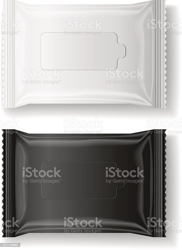 black & white wet wipes package realistic vector, isolate, 3D vector art illustration