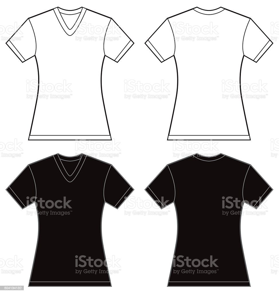 Design shirt v neck - Black White Women S V Neck Shirt Design Template Royalty Free Stock Vector Art