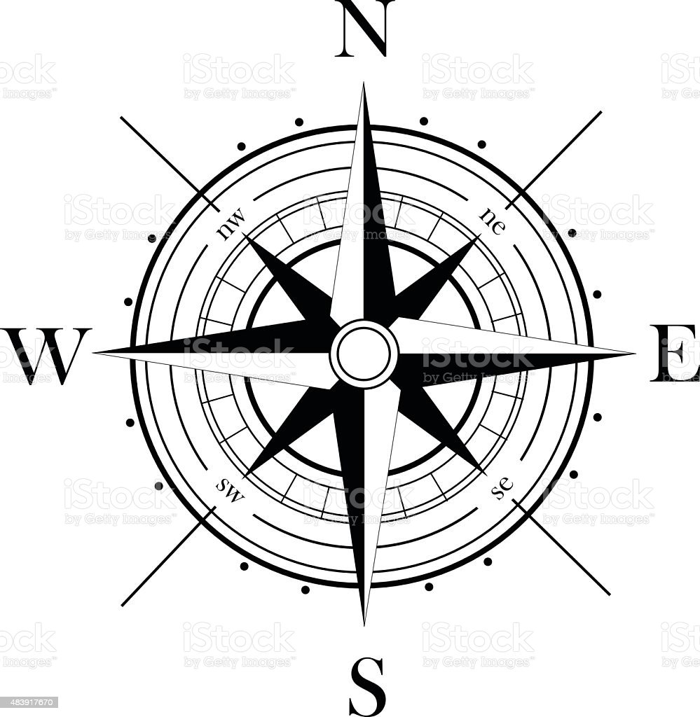 Black wind rose isolated on white vector art illustration