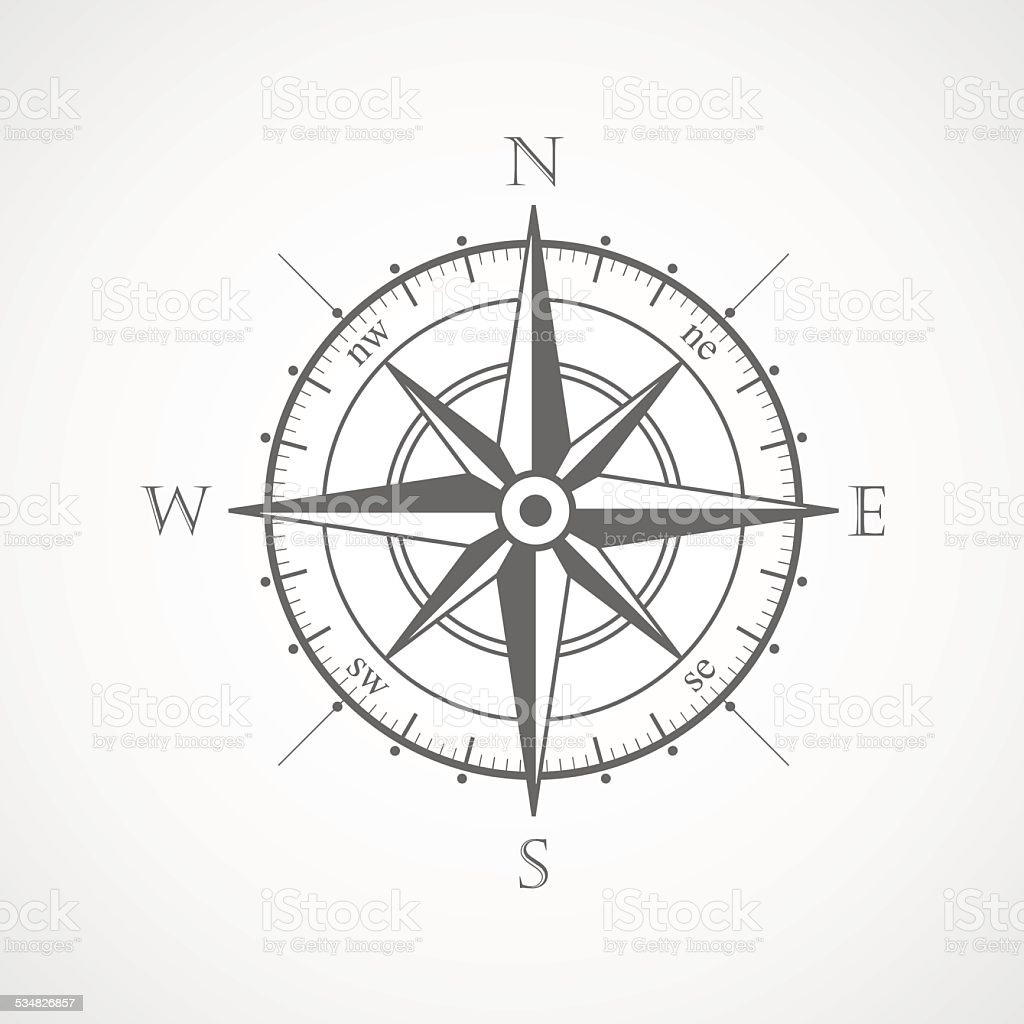 Black wind rose isolated vector illustration vector art illustration