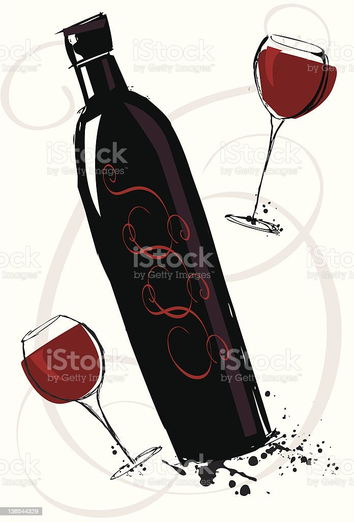 Black wine bottle royalty-free stock vector art