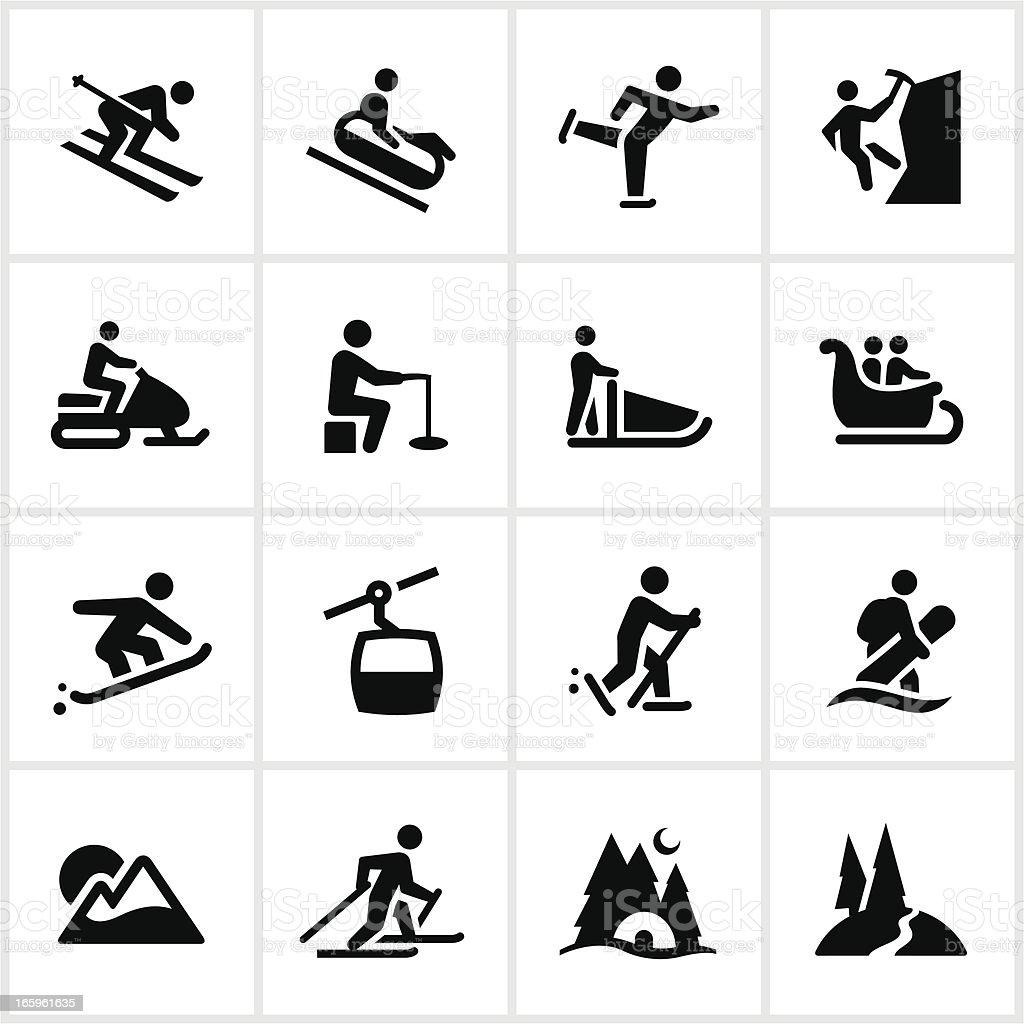 Black Winter Adventure Icons vector art illustration