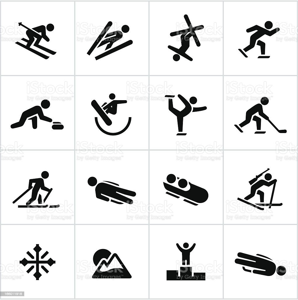 Black Winter Sports/Games Icons royalty-free stock vector art