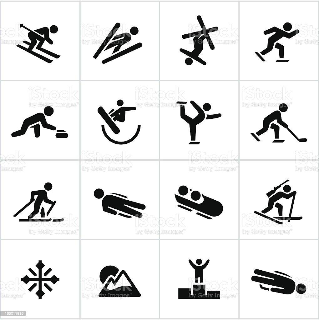 Black Winter Sports/Games Icons vector art illustration