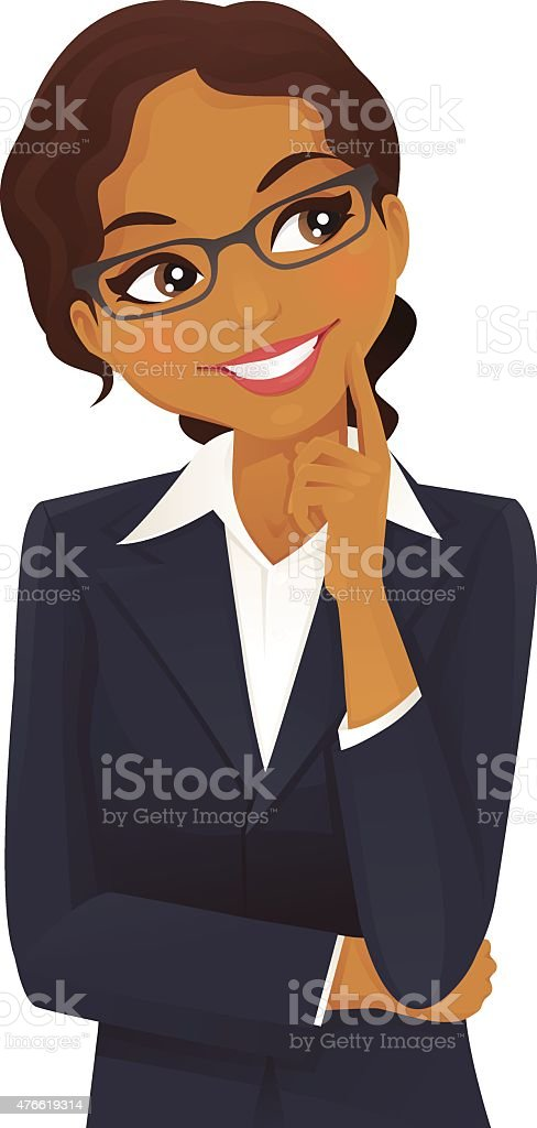 Black woman thinking vector art illustration