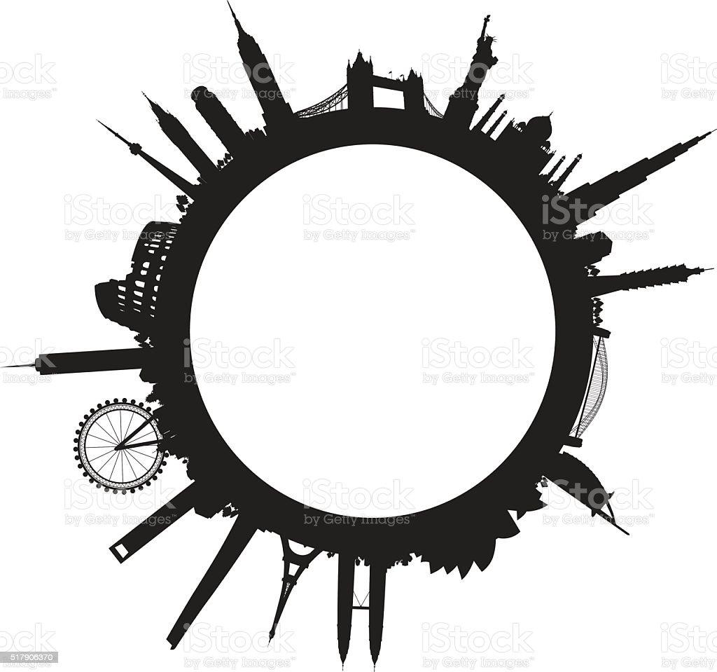 black world landscape cityscape vector art illustration