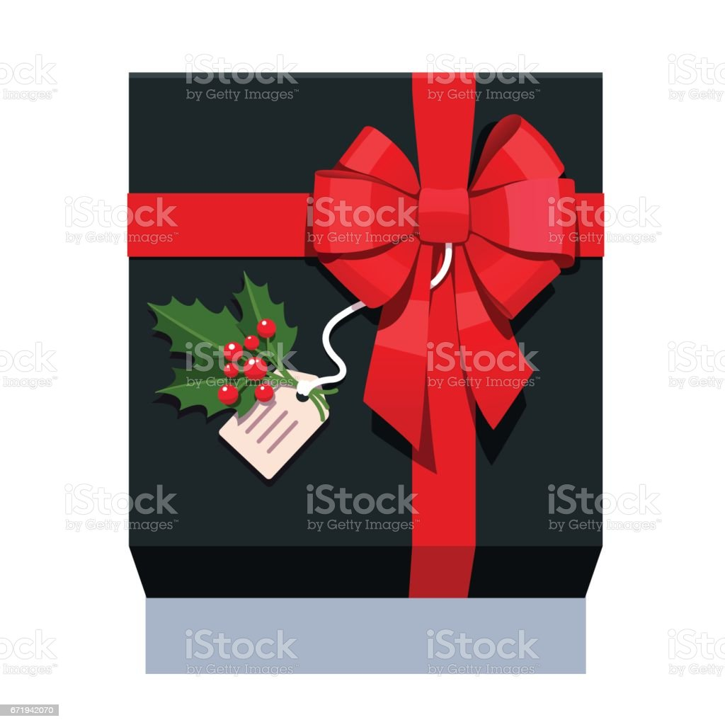 Black wrapped gift box decorated with red bow vector art illustration